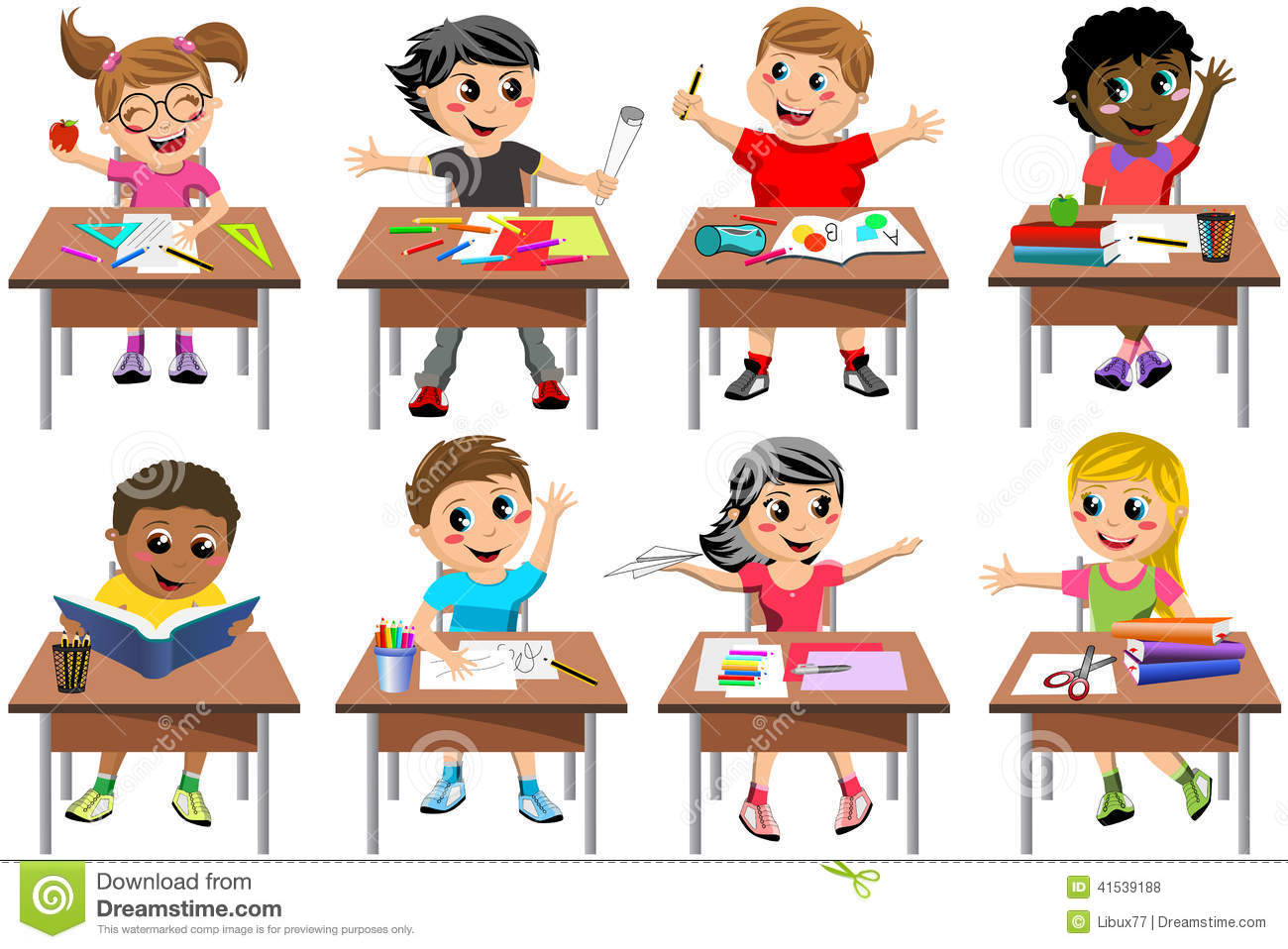 Happy Children Kid Desk School Classroom Isolated Stock Vector - Image ...