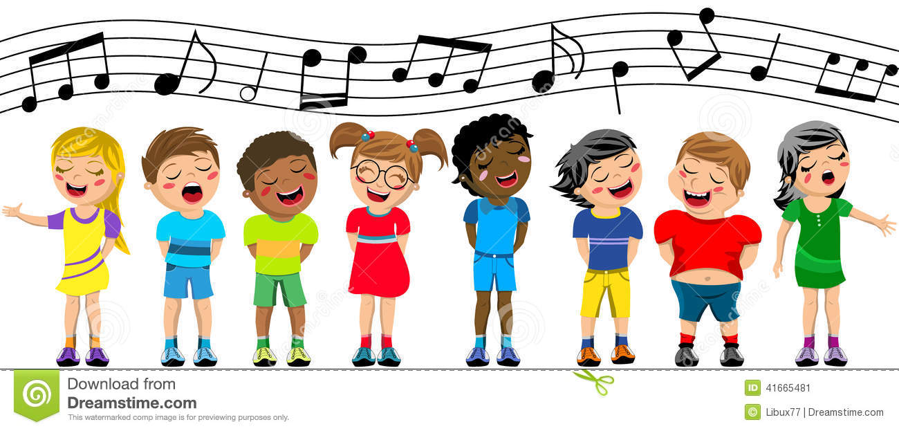 Group of happy multiculture kids or children standing and singing in a