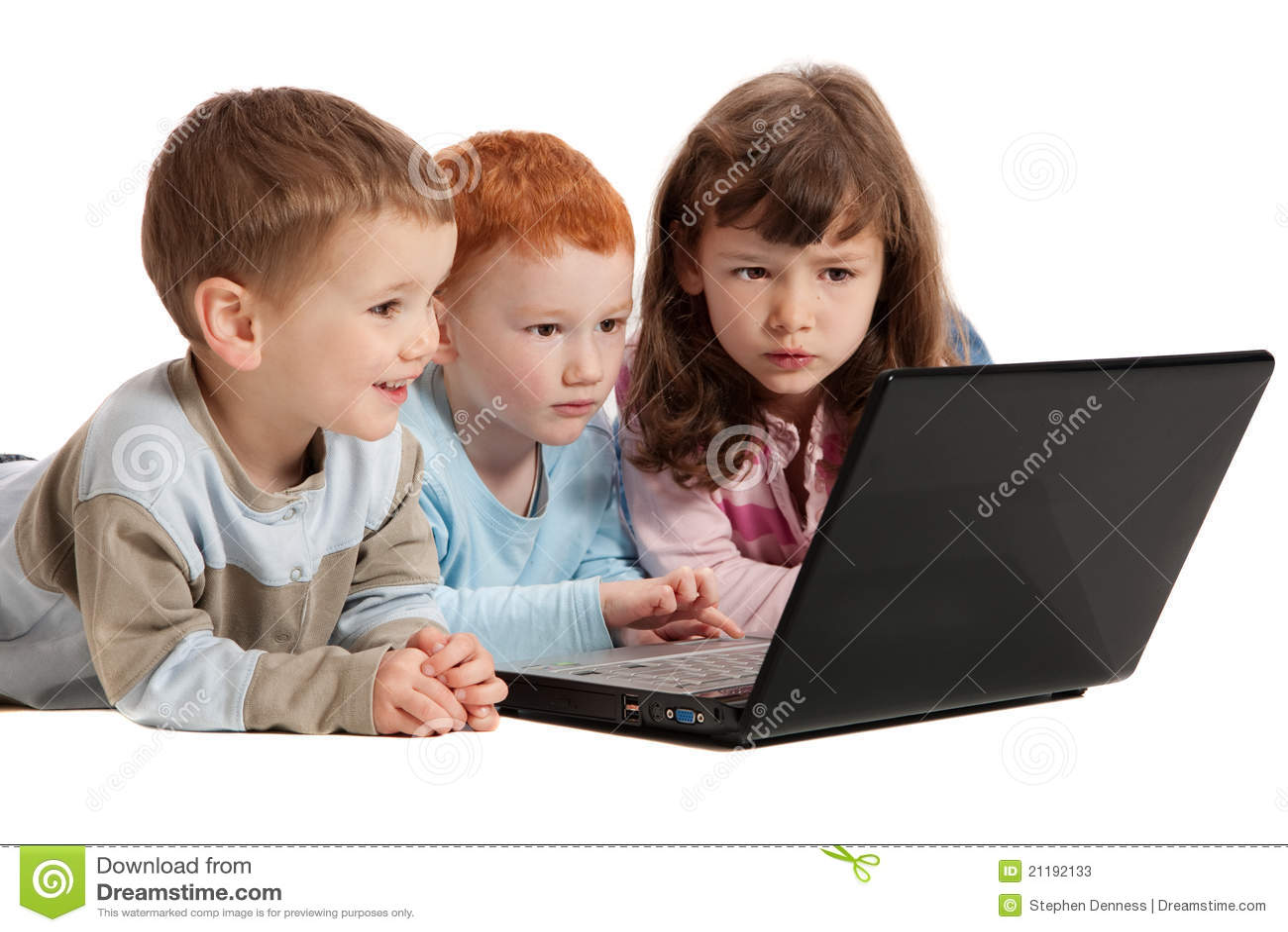Preschool Classroom Floor Plans Happy Children Learning On Kids Notebook Computer Stock