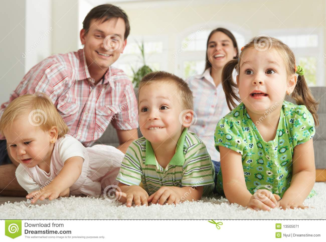 Happy children with parents