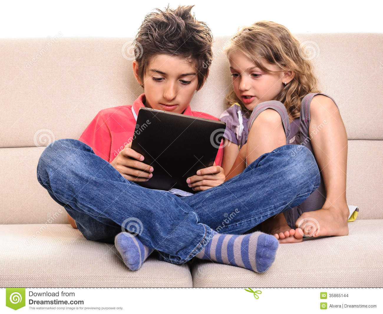 Happy Children Playing Digital Tablet Stock Images - Image ...