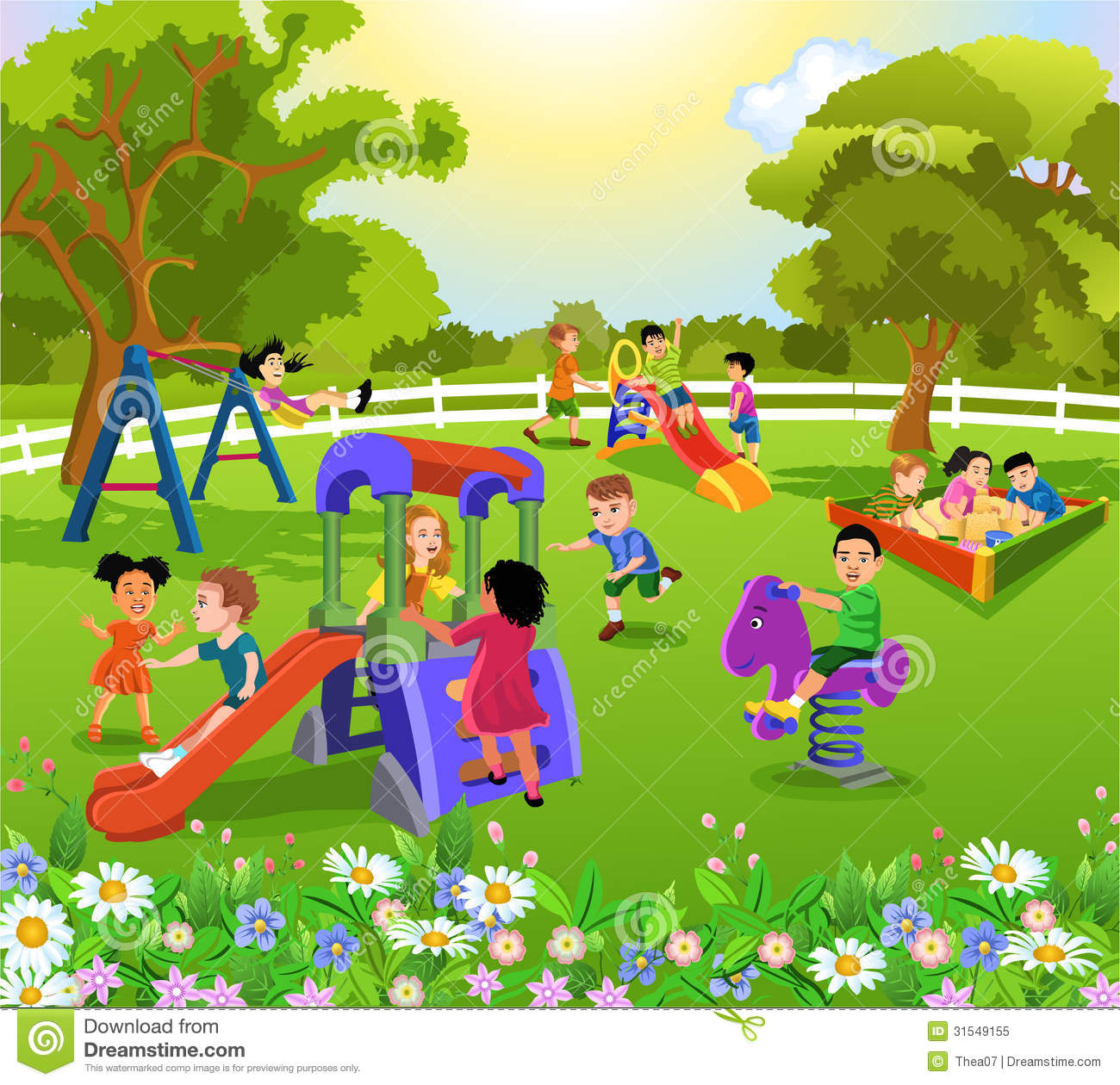 Happy children playing stock vector. Illustration of ...