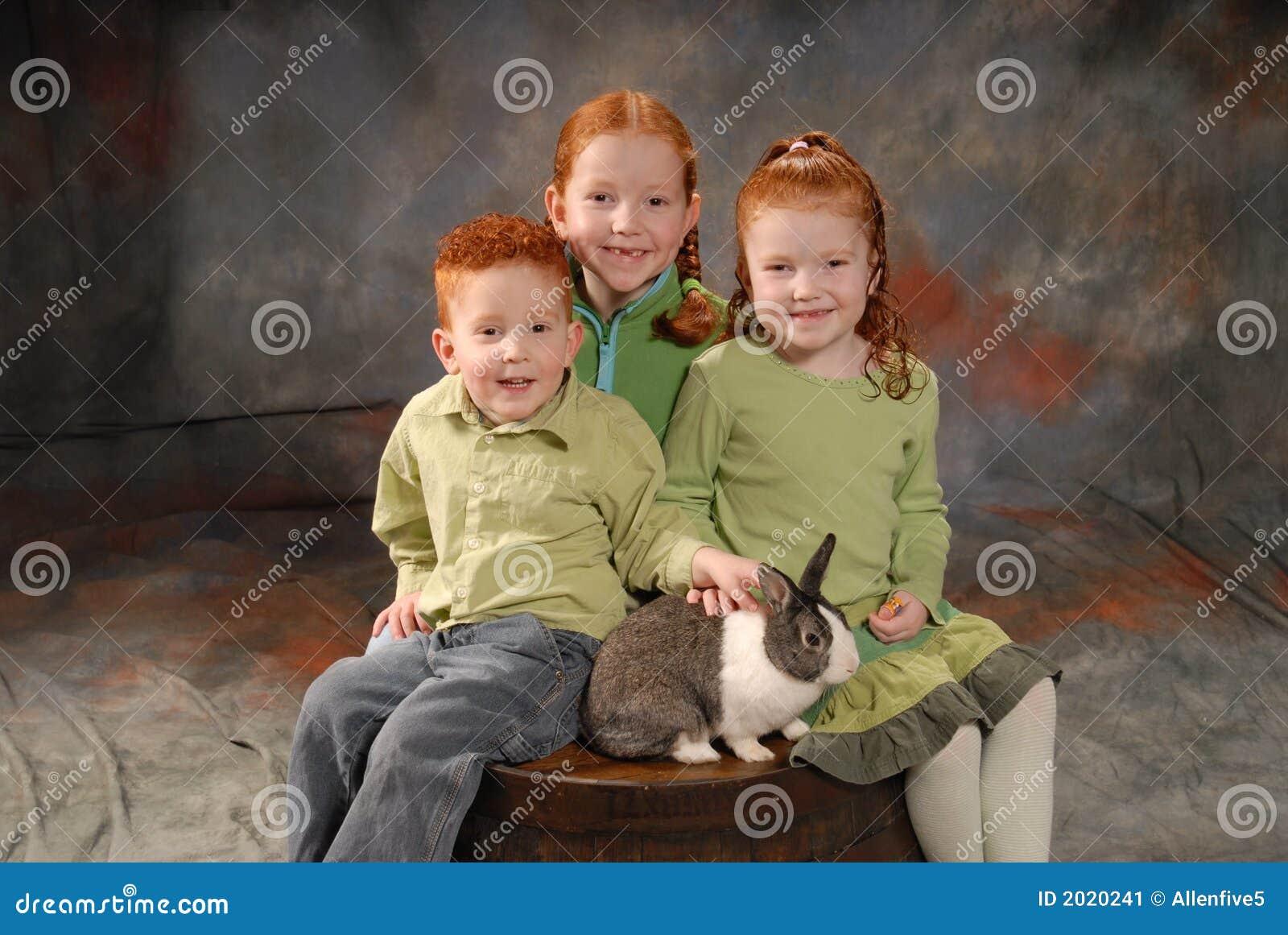 Happy Children with Rabbit