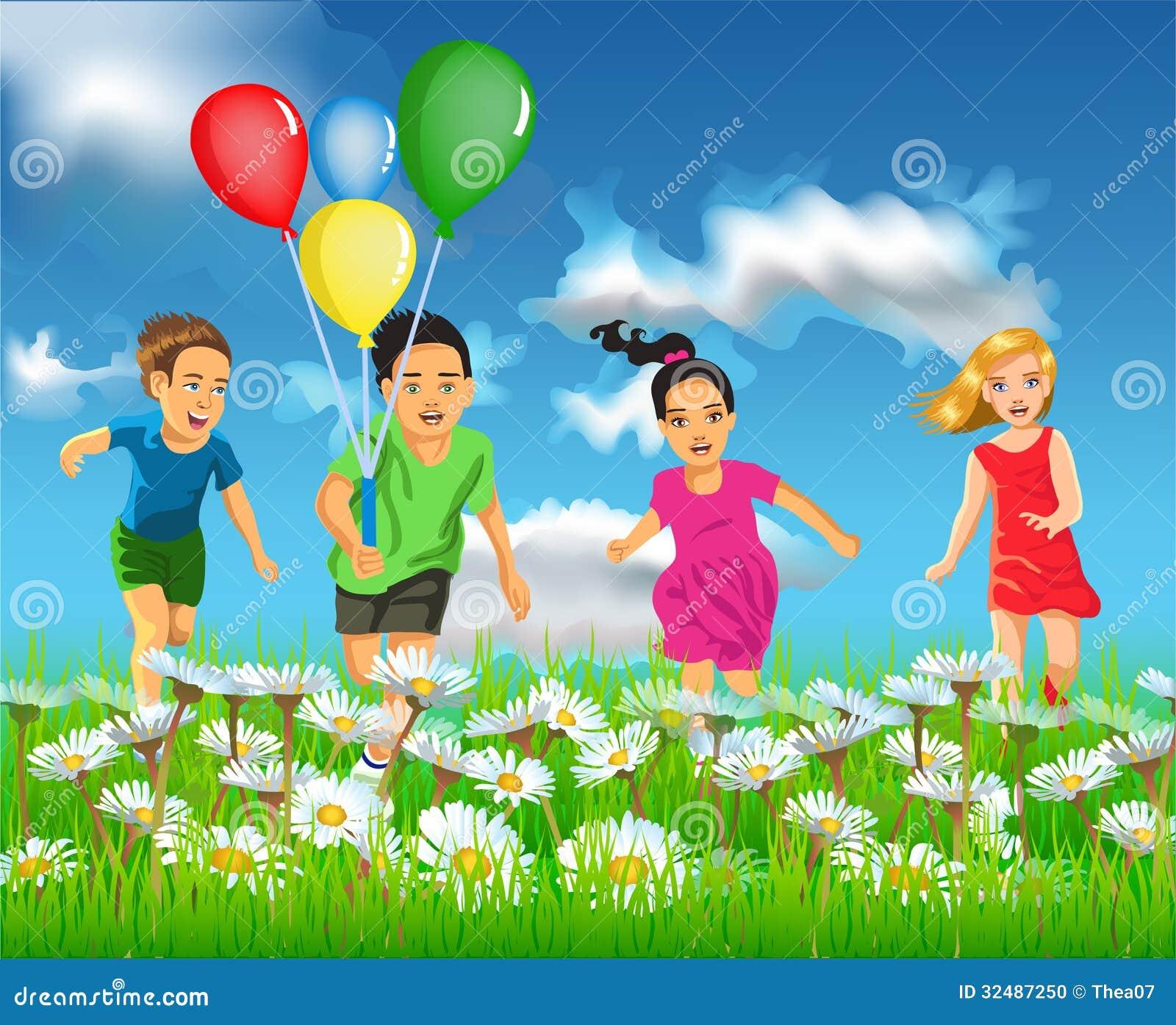 happy children running in the field stock vector illustration of