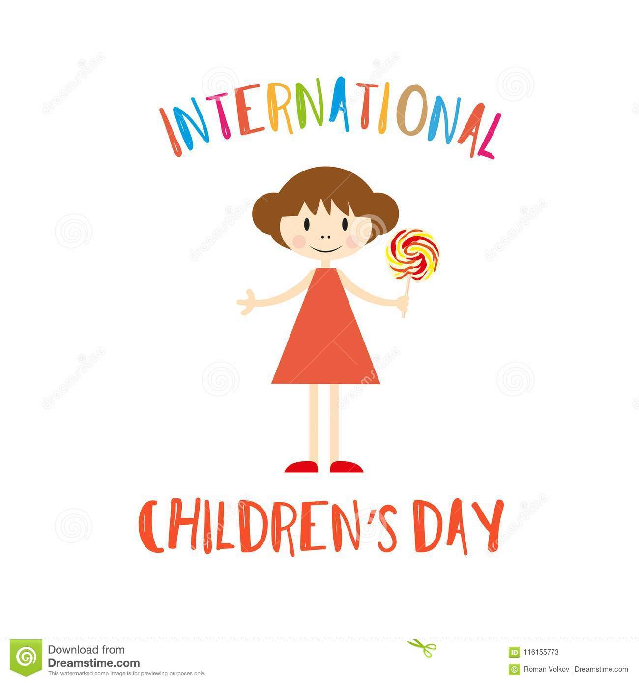 Happy Childrens Day Greeting Card With Girl Stock Vector