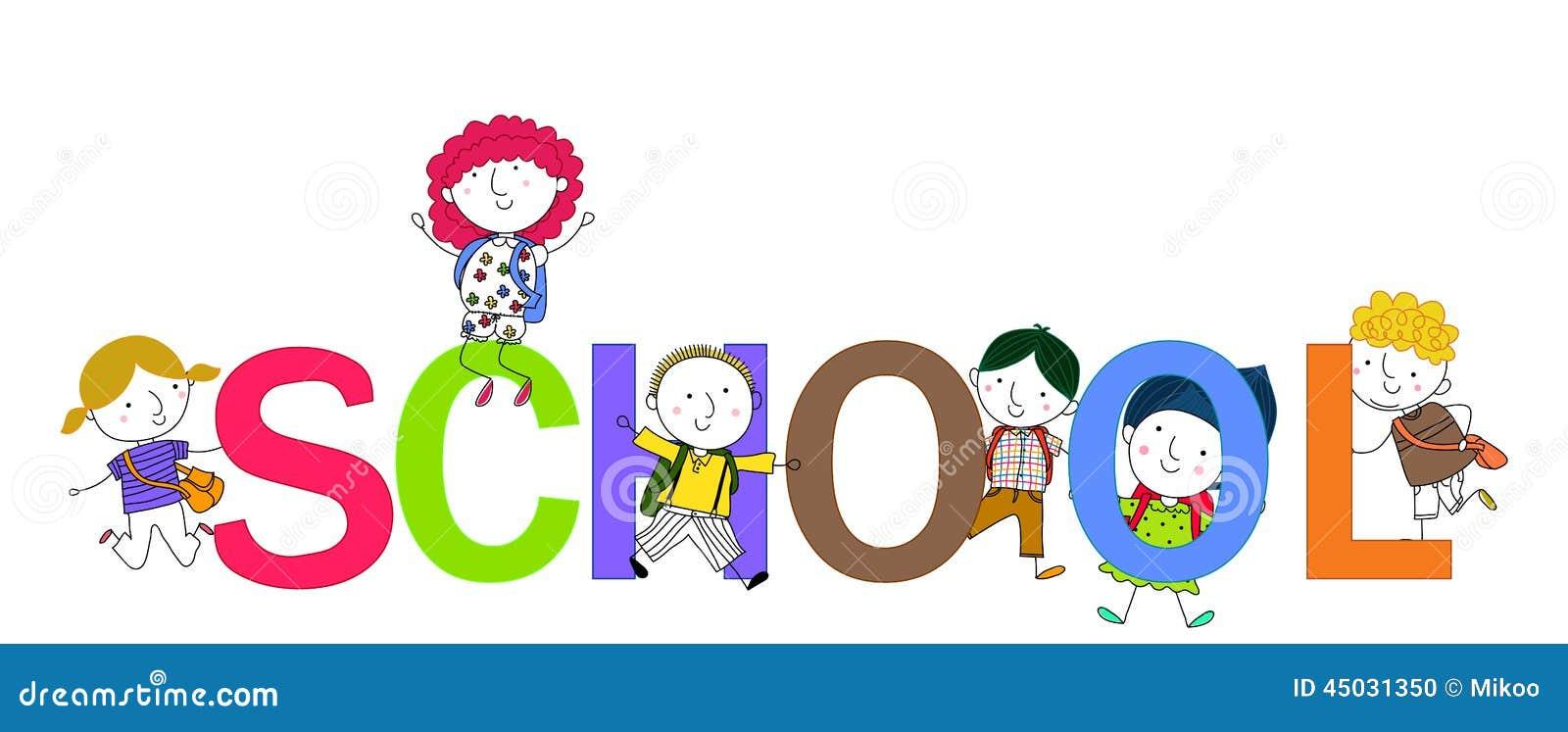 Happy Children And School Word Stock Vector - Image: 45031350