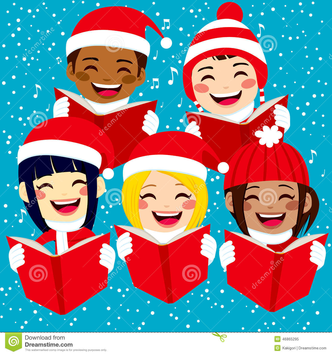 Five cute happy children singing christmas carols with snowflakes and