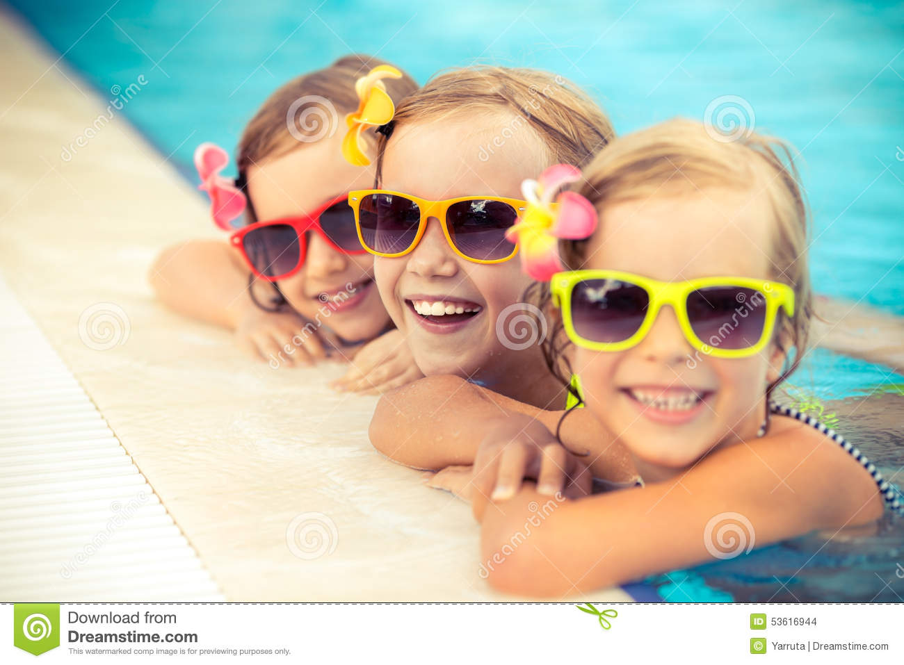 Happy Children In The Swimming Pool Stock Photo Image 53616944