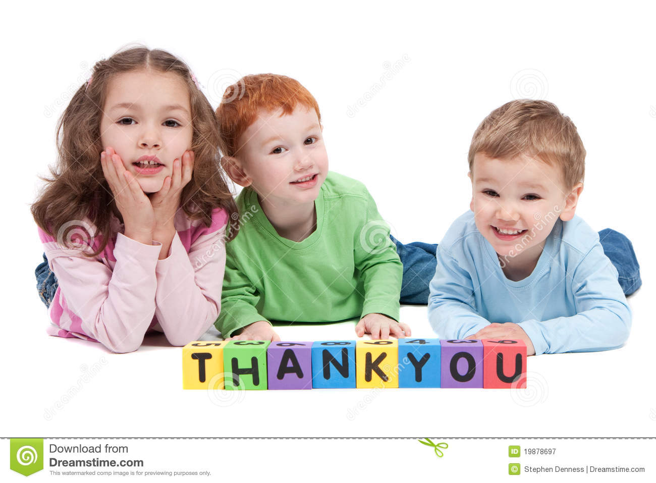 Happy children with thankyou kids letter blocks