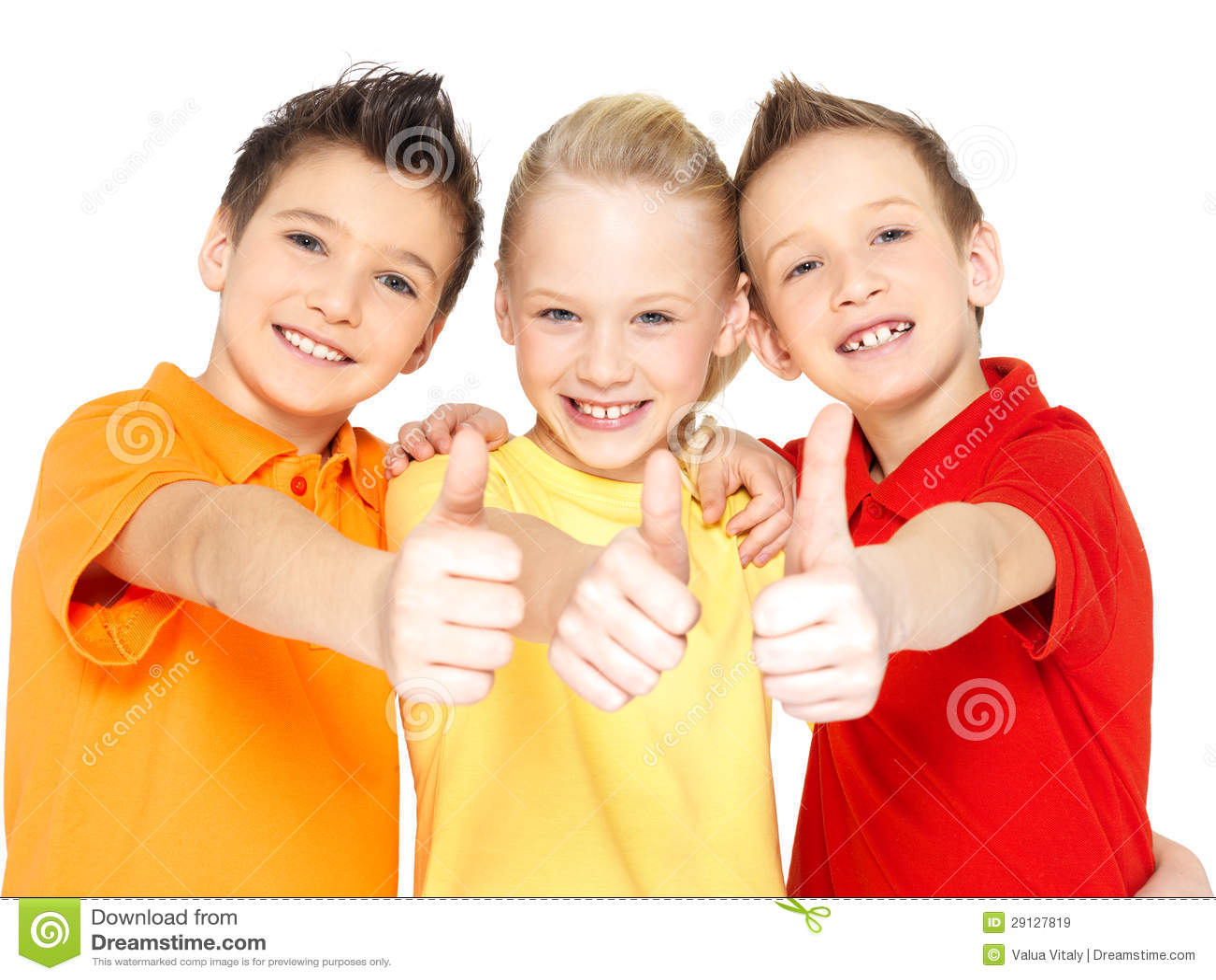 Happy children with thumbs up gesture