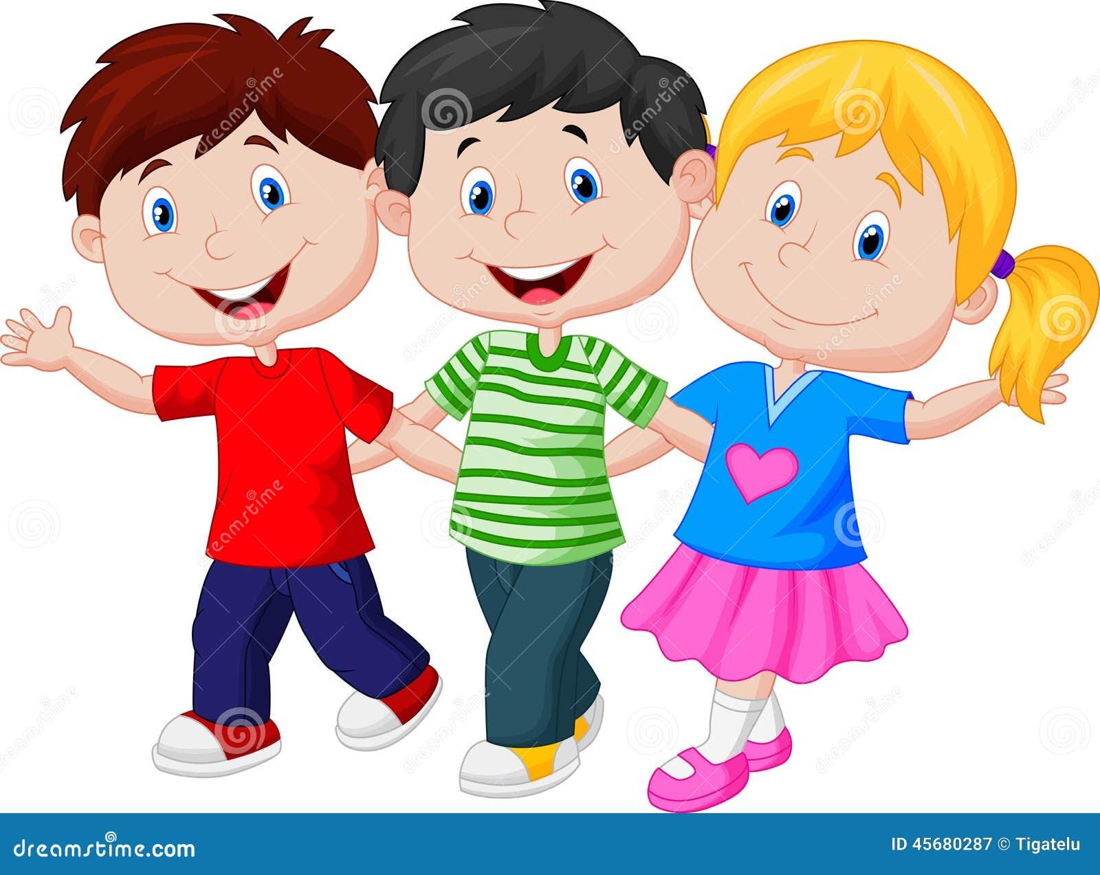 Happy Children Walking Together Stock Vector - Image: 45680287
