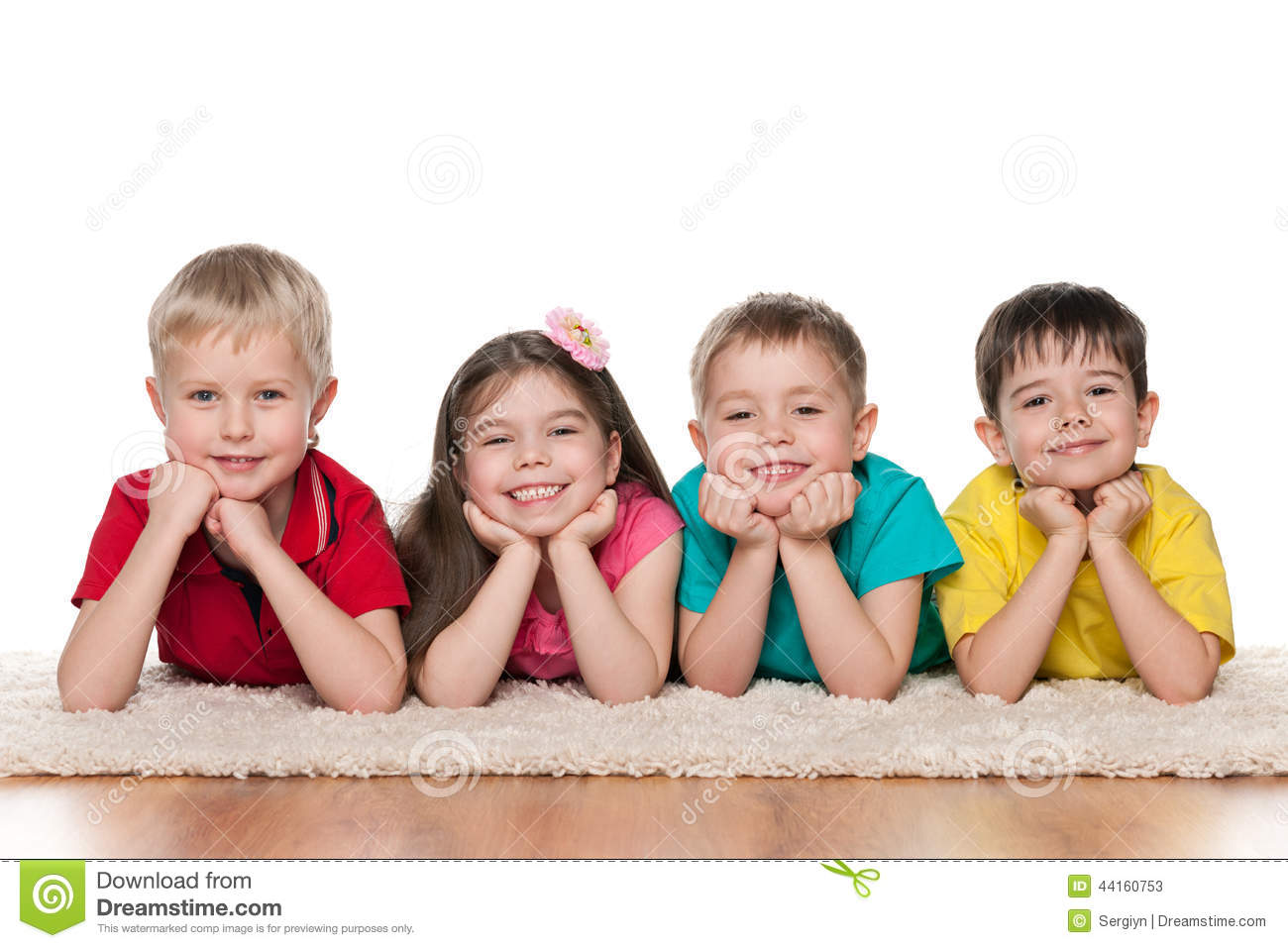 Https Www Dreamstime Com Stock Photo Happy Children White Carpet Four Resting Image44160753