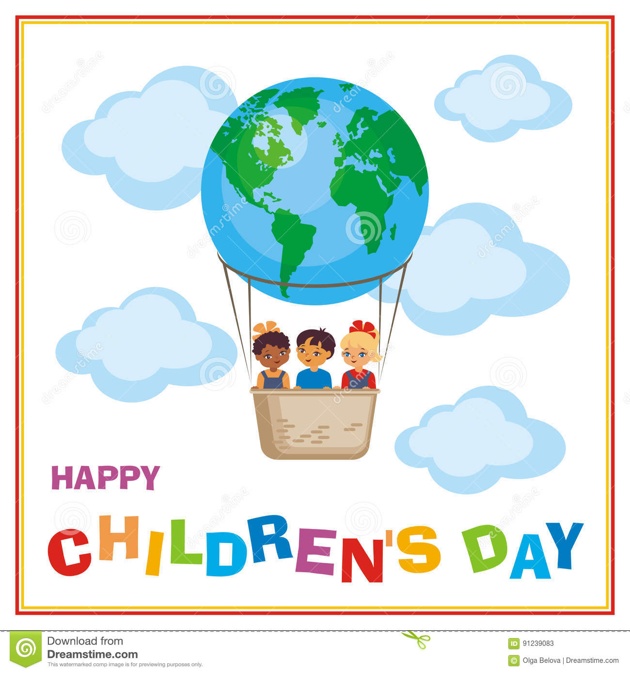 Happy Childrens Day Banner Stock Vector Illustration Of Earth