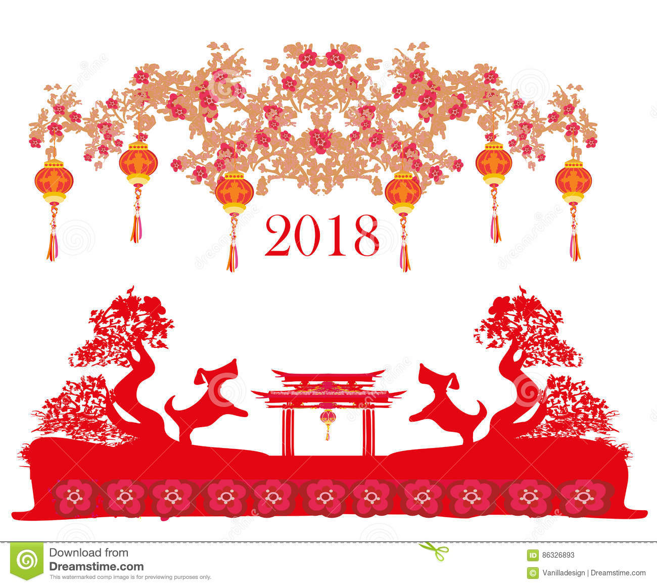 happy chinese new year 2018 card cartoon vector