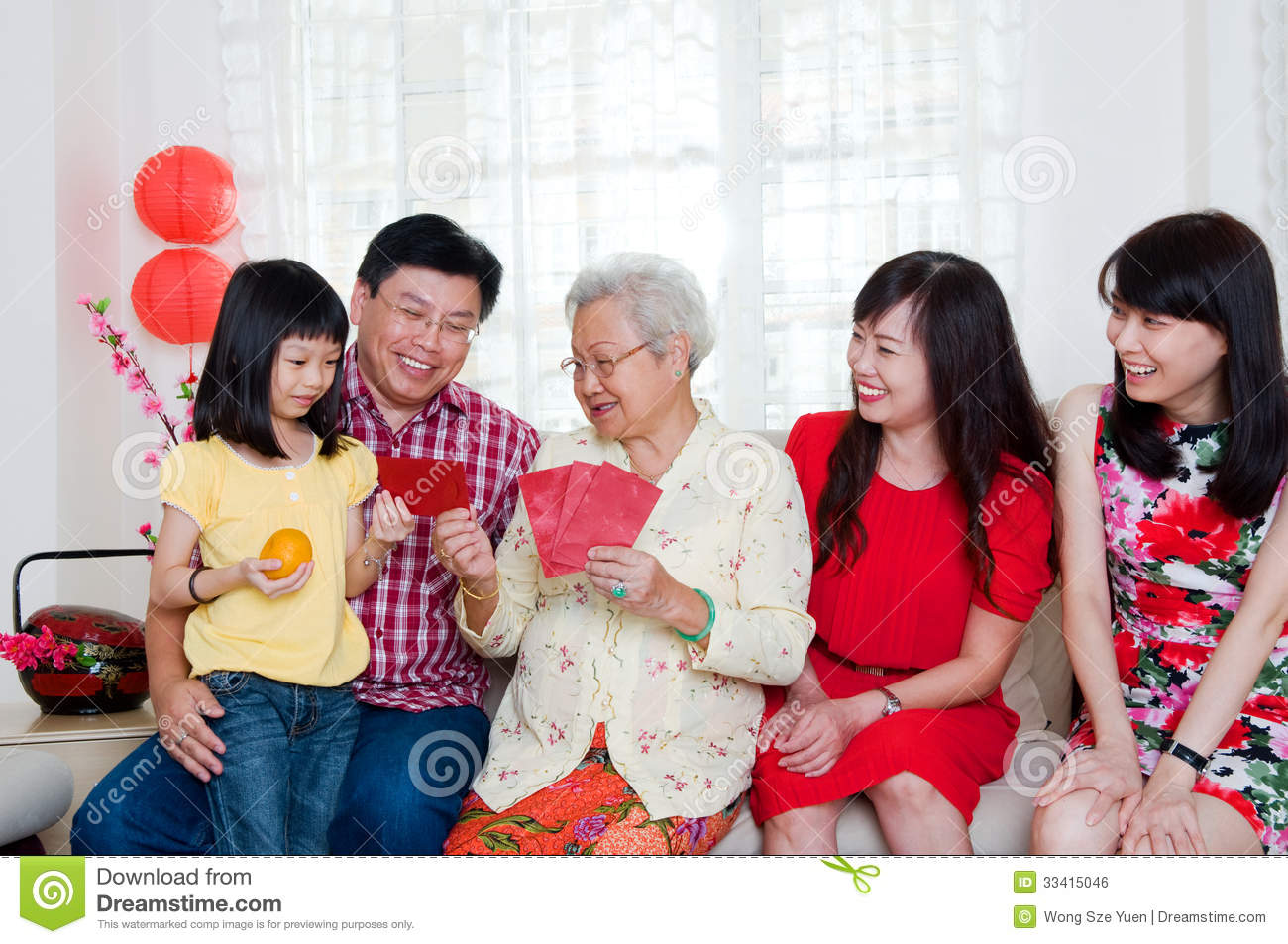 Family Celebrating Chinese New Year Portrait Stock Photo ...