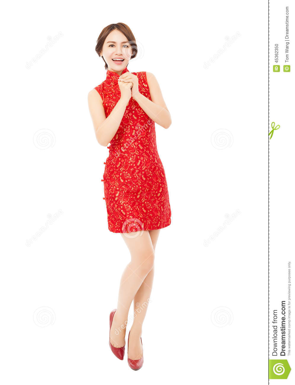 happy chinese new year asian woman with congratulation gesture