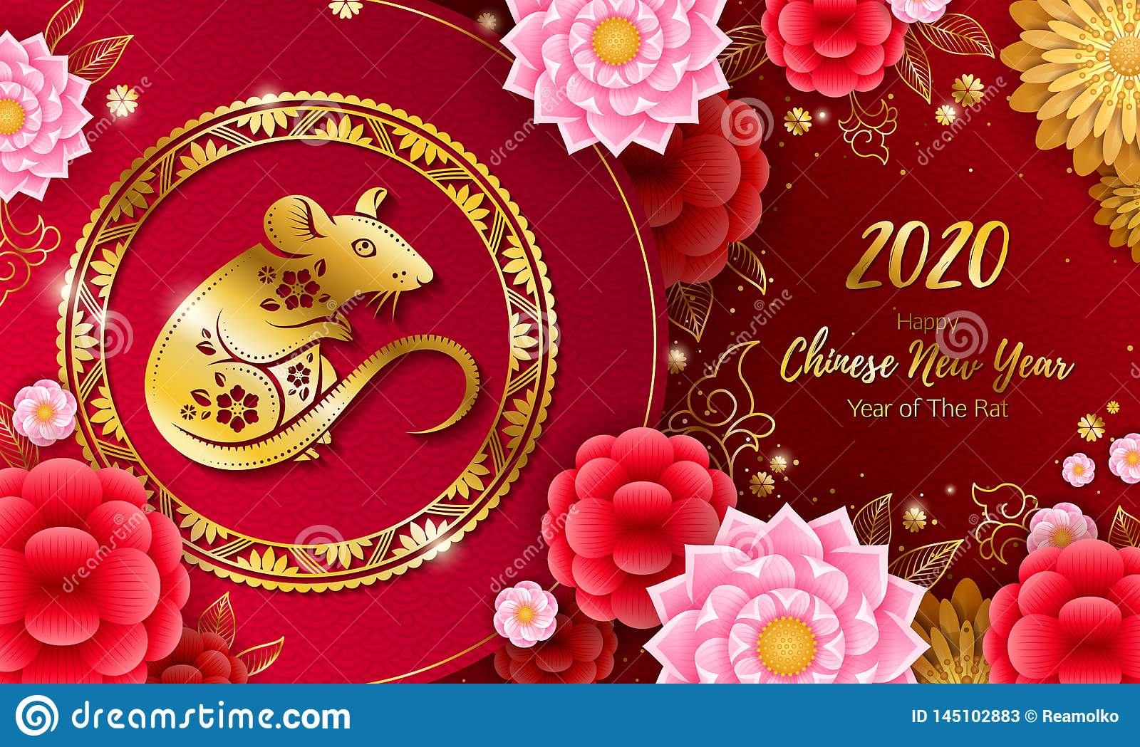 2020 Happy Chinese New Year Background With Rat  Stock