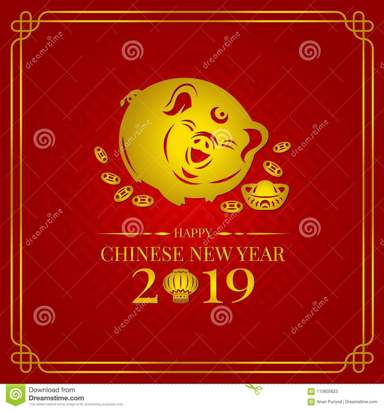 happy chinese new year 2019 banner card with gold pig zodiac sign and china money coin