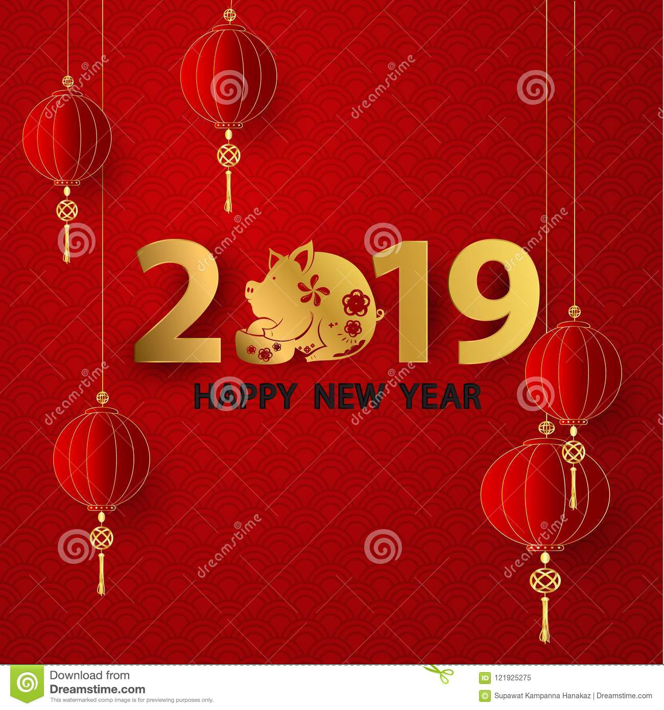 happy chinese new year 2019 banner card pig gold graphic and background