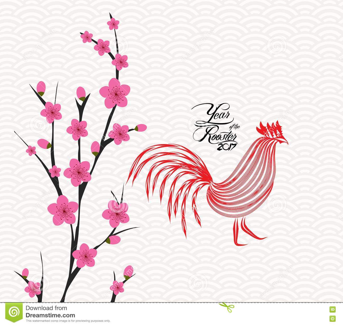 New year 2017 greeting pictures year of rooster happy chinese new year - Happy Chinese New Year 2017 Card Is Blossom Year Of The Rooster Royalty Free Stock