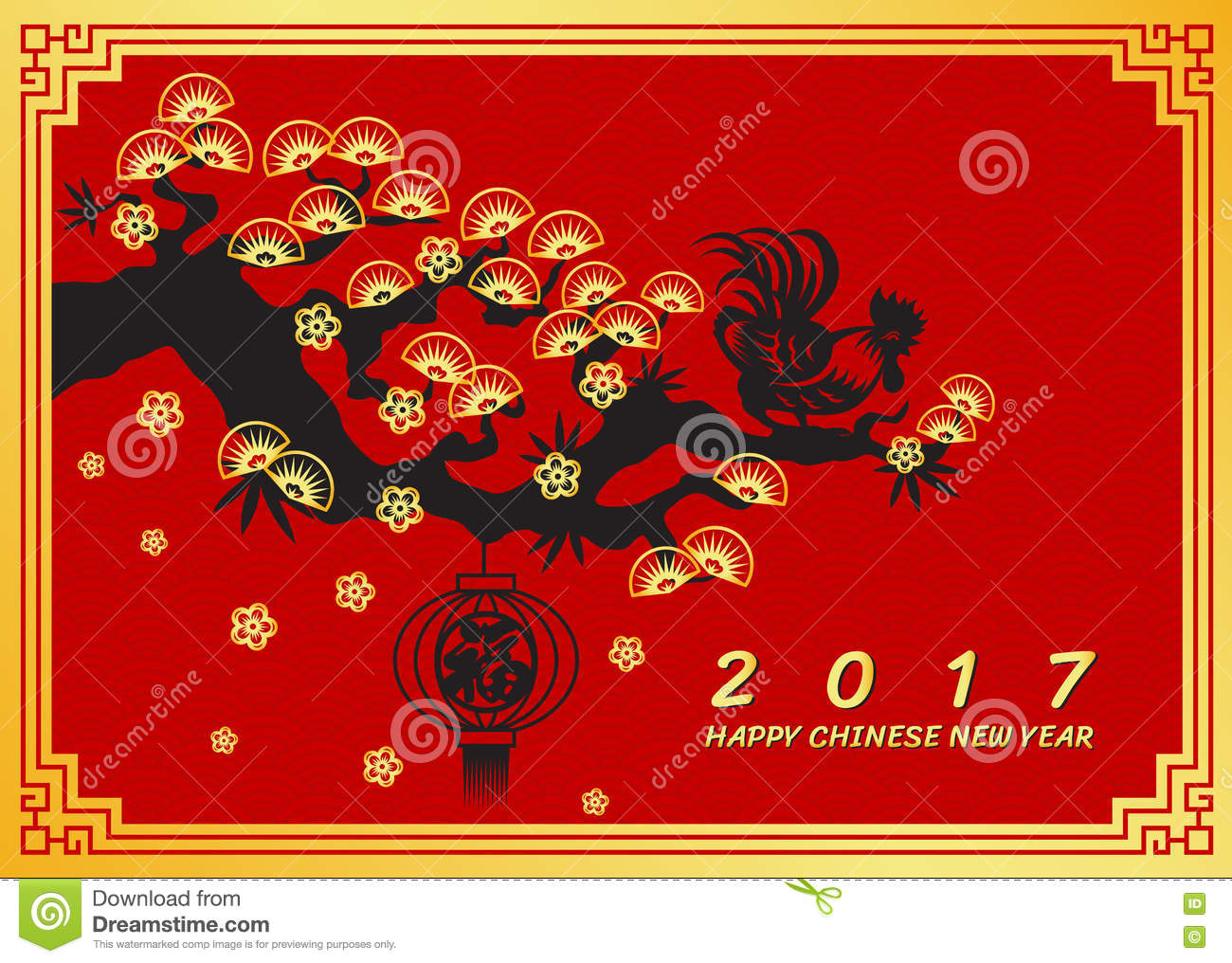 happy chinese new year 2017 card chicken rooster on pine tree and lanterns chinese