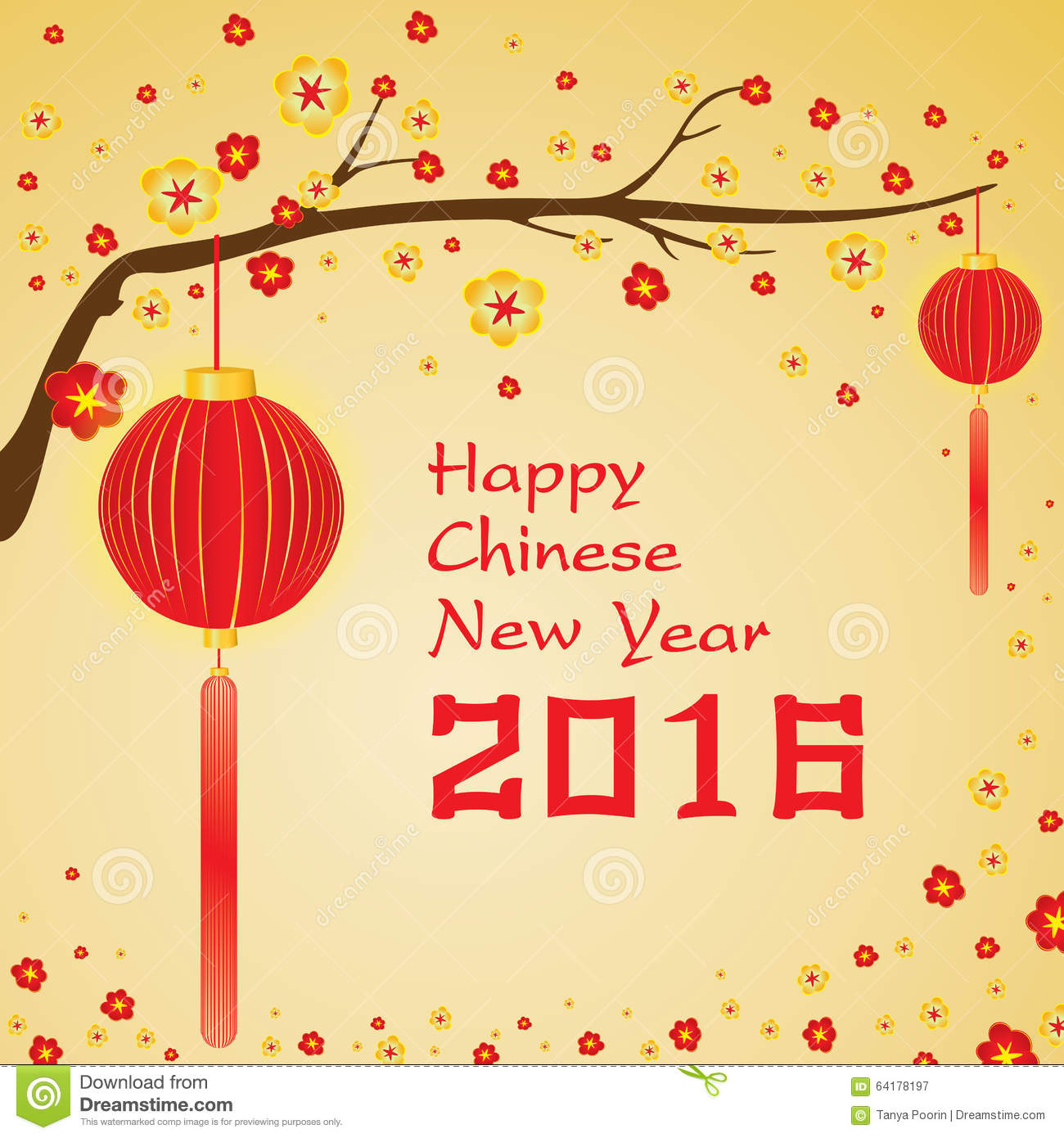 happy chinese new year 2016 card and colorful flower on gold background