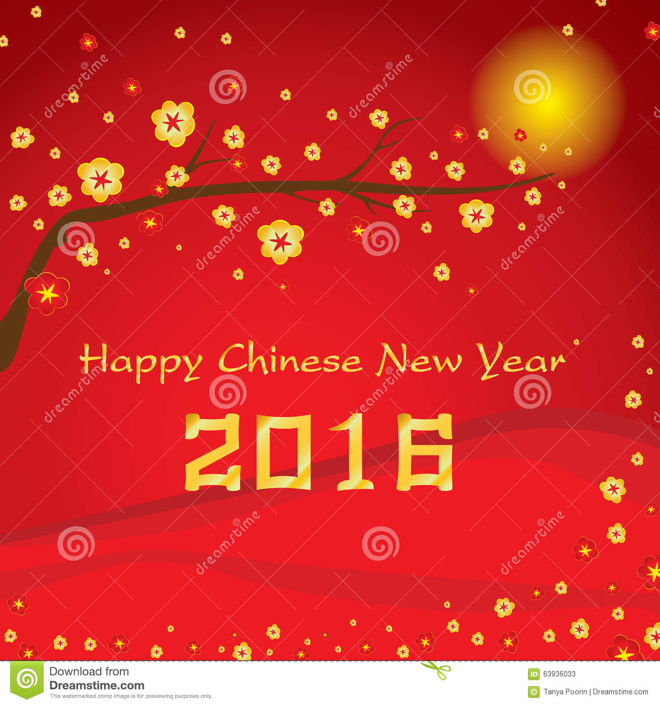Happy chinese new year 2016 card and colorful flower on - Flowers for chinese new year ...