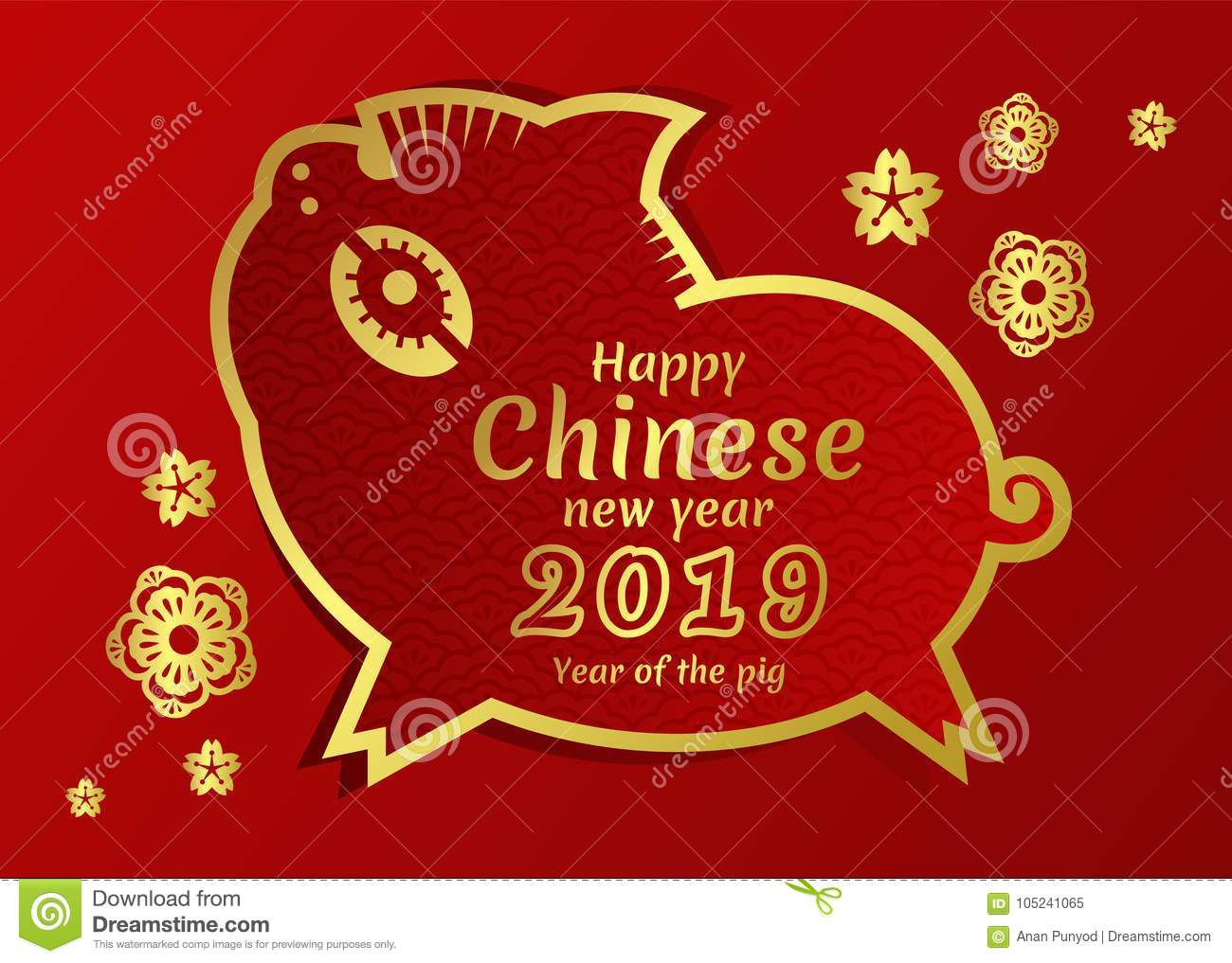 happy chinese new year 2018 card with gold border line pig zodiac and gold flower sign