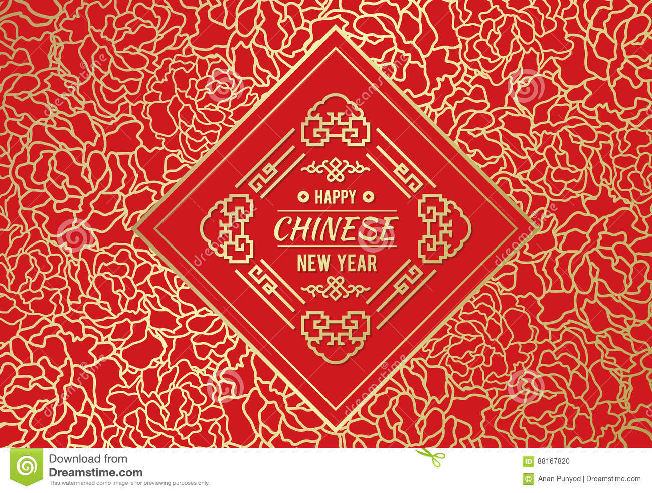 happy chinese new year card with gold chinese diamond frame on abstract flower line art background