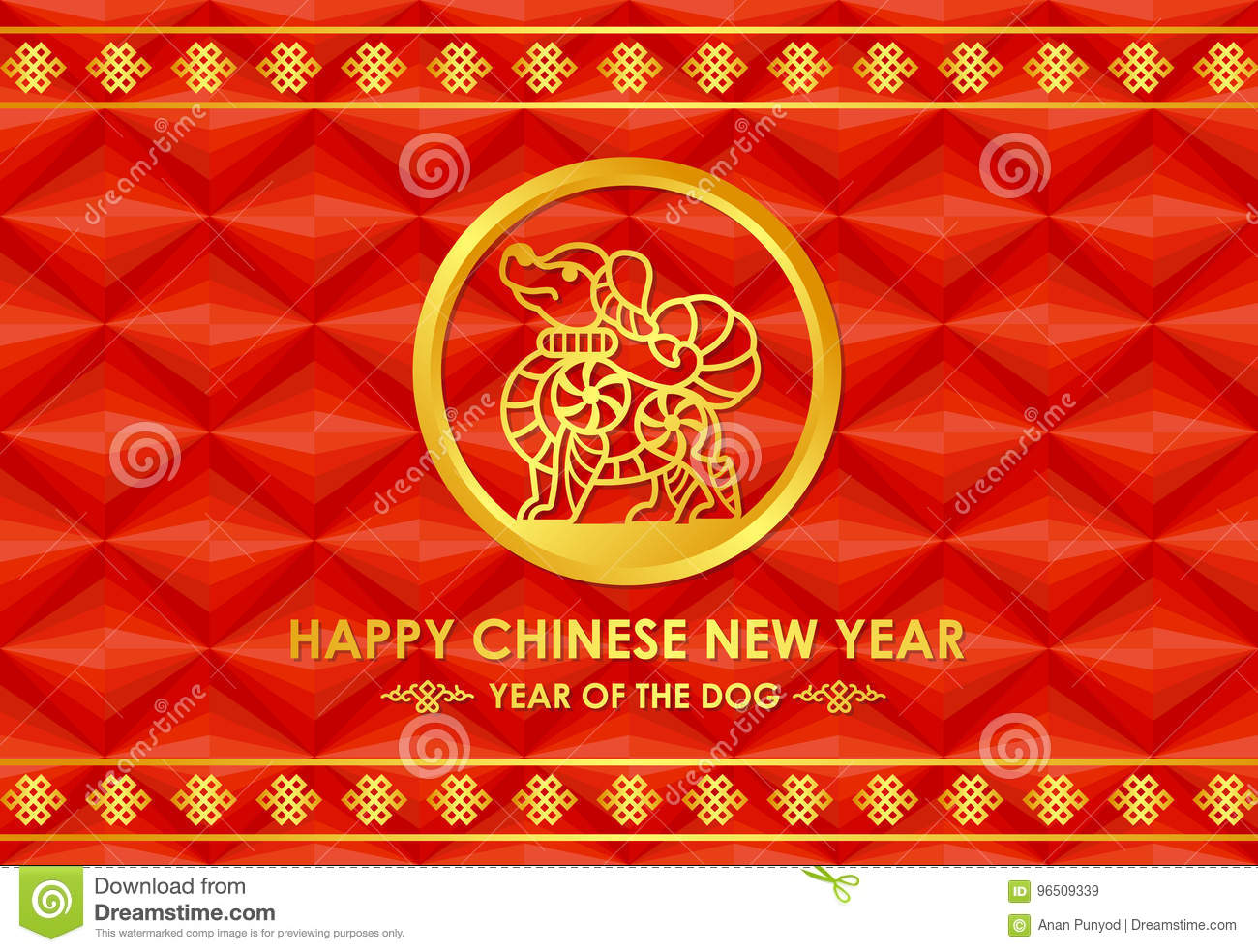 happy chinese new year 2018 card with gold dog zodiac line in circle on abstract red