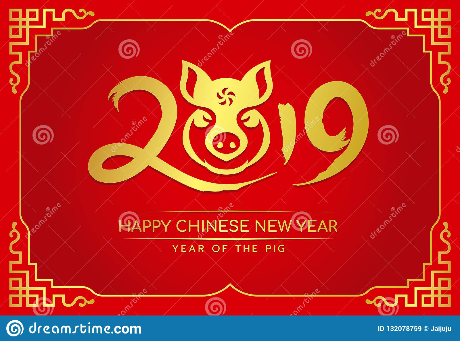 Happy chinese new year card with gold 2019 ink text and pig head zodiac sign in china frame on red background vector design