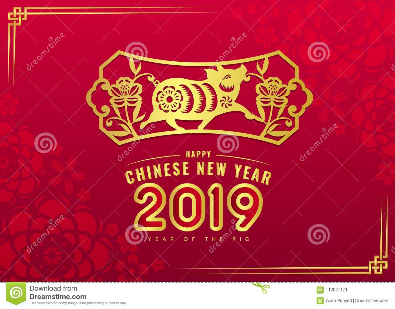 happy chinese new year 2019 card with gold pig zodiac and flower in frame sign on