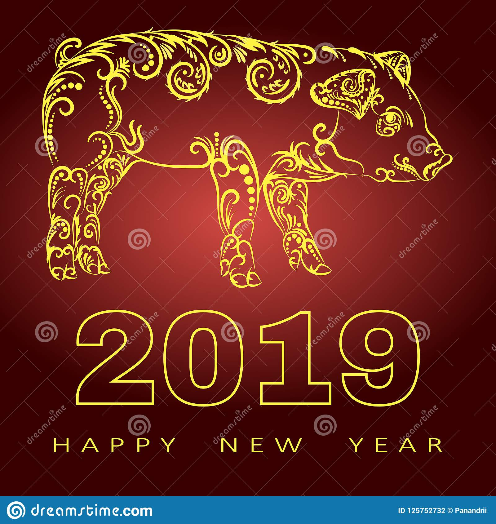 happy chinese new year 2019 card with gold pig zodiac gold paper cut art and