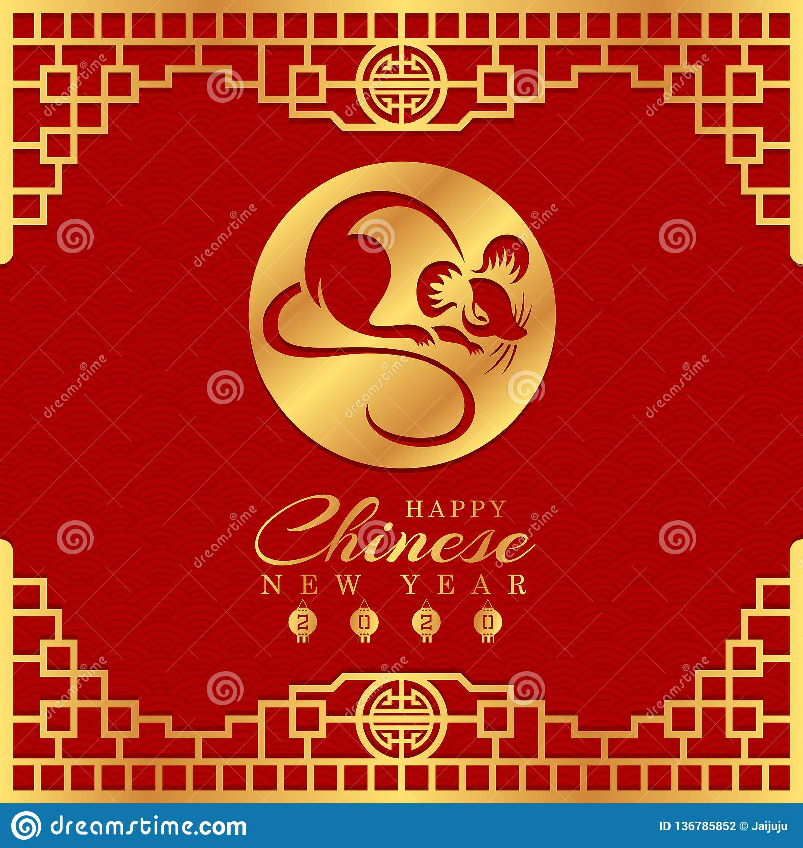 Happy chinese new year 2020 card with gold rat chinese zodiac in circle sign on red background and gold china frame