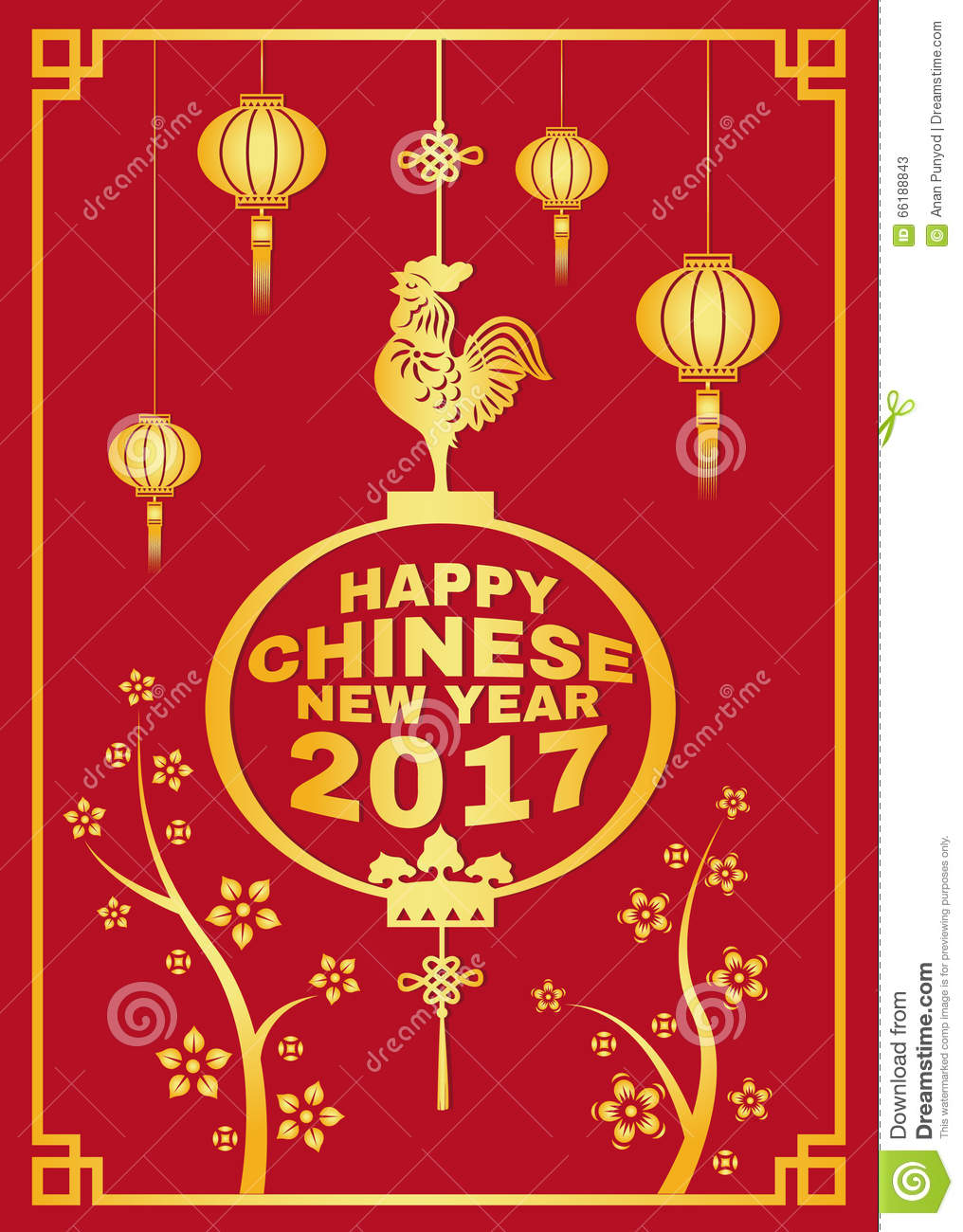 happy chinese new year 2017 card is lanterns and chicken symbols and flower