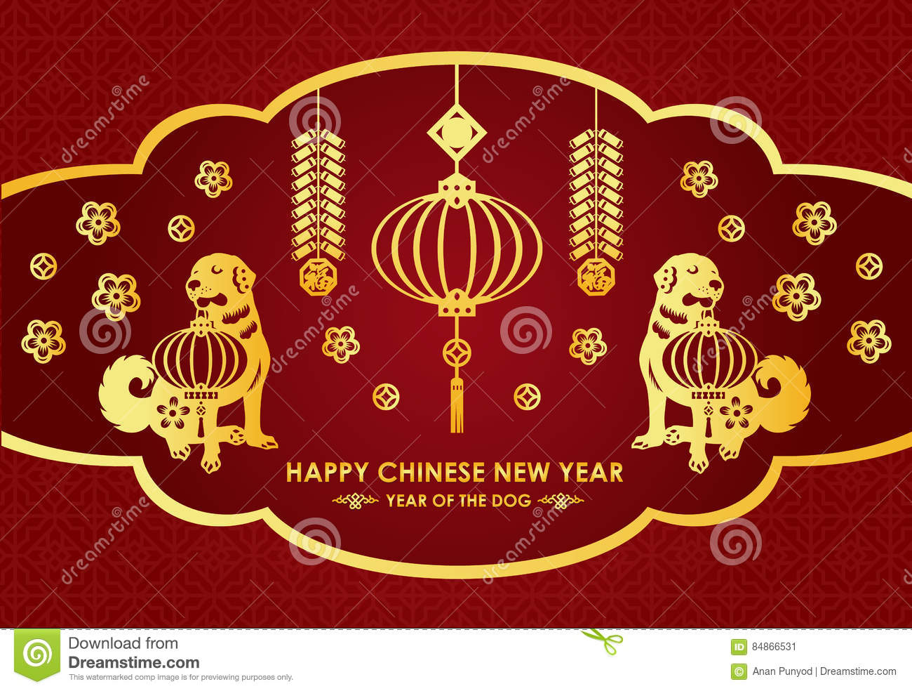 Happy chinese new year card is lanterns firecracker twin gold happy chinese new year card is lanterns firecracker twin gold dog and chinese word mean blessing kristyandbryce Choice Image