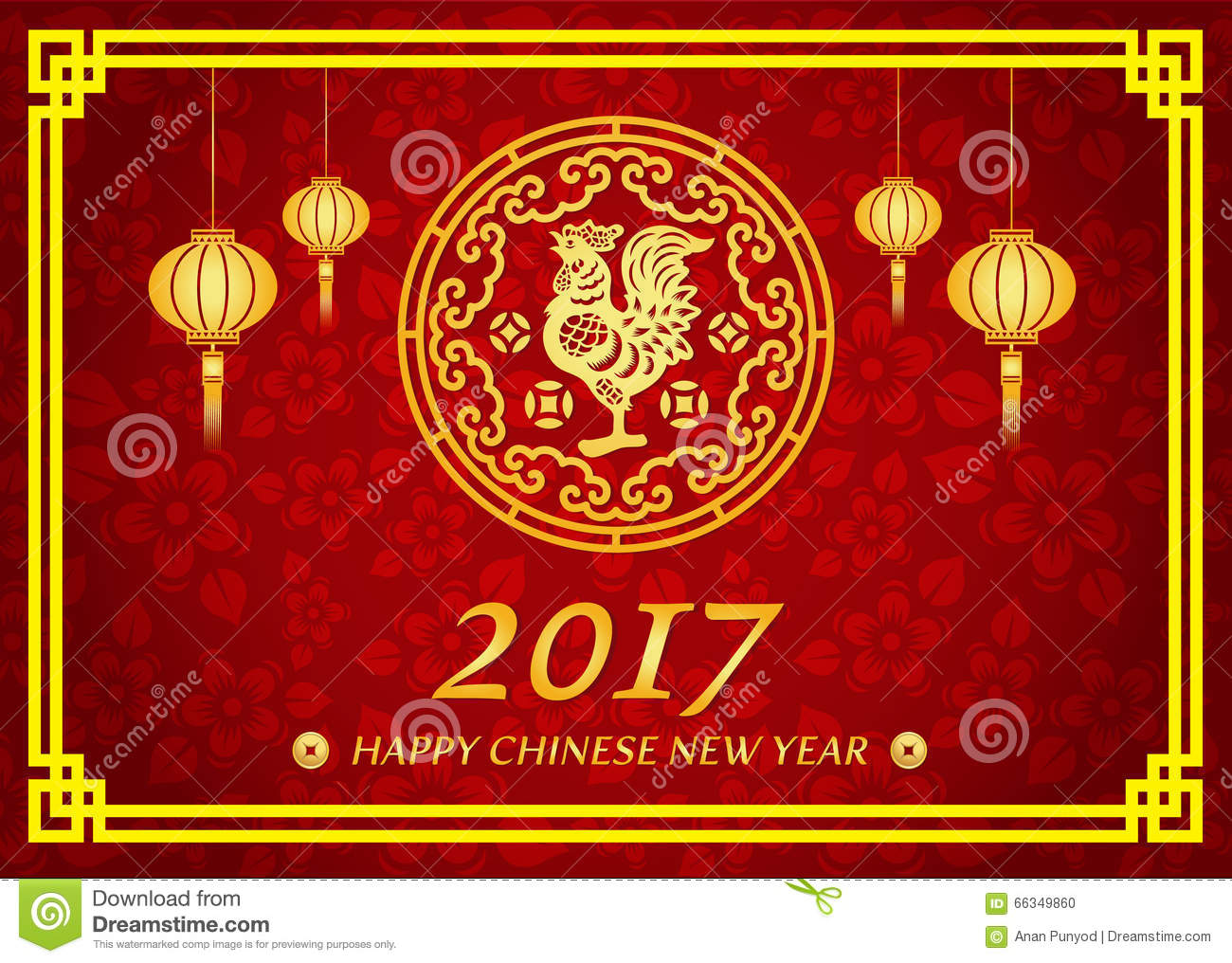 happy chinese new year 2017 card is lanterns gold chicken in circle - When Is Chinese New Year 2017