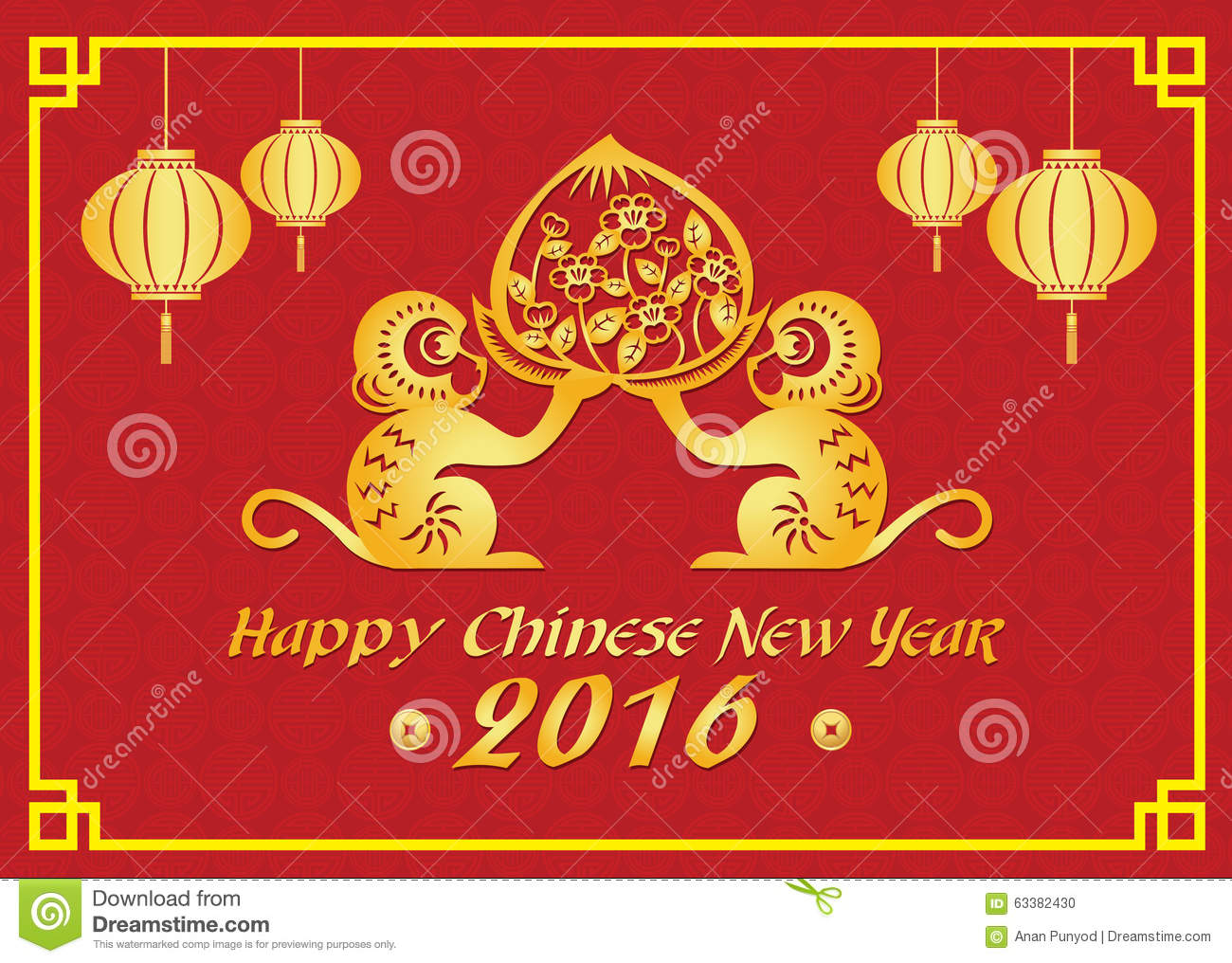 Happy Chinese New Year 2016 Card Is Lanterns ,Gold Monkey And ...