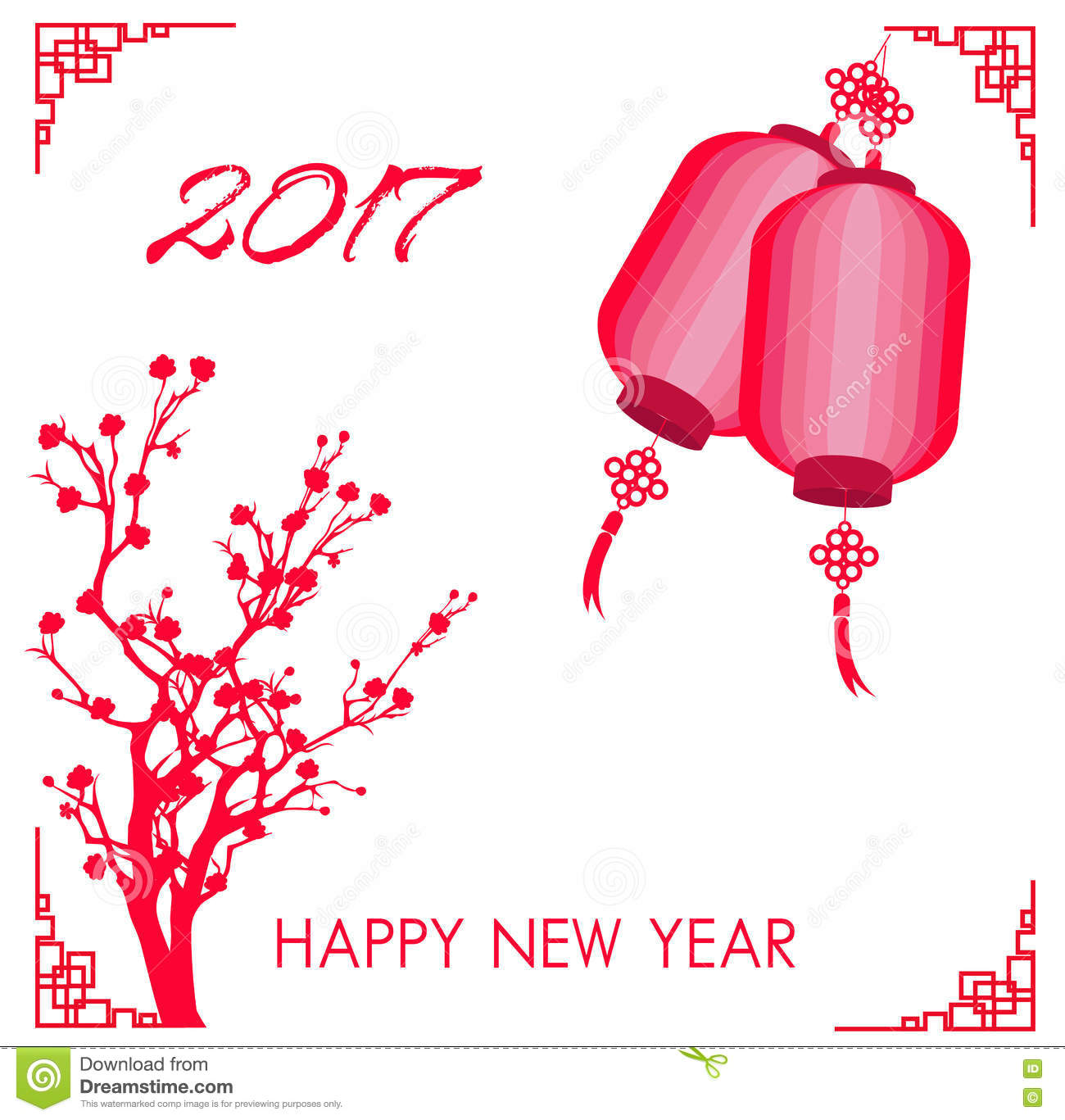 Happy Chinese New Year 2017 Card Is Lanterns, Plum Blossom Stock ...