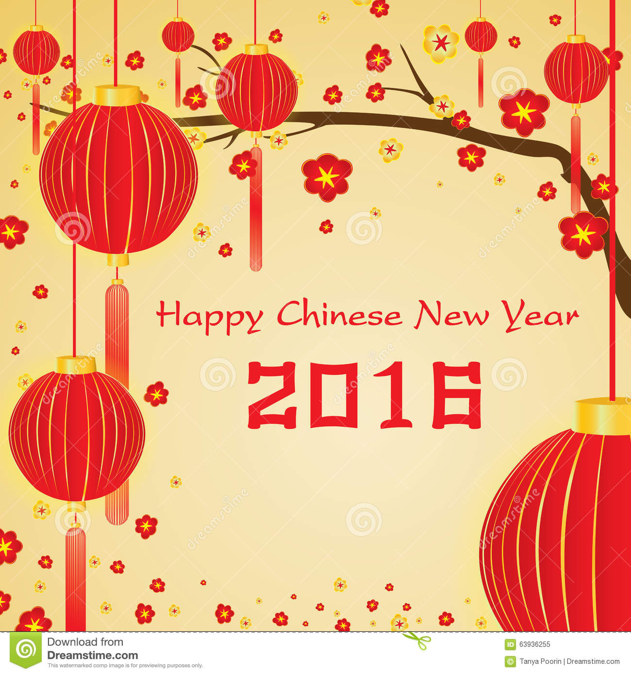 happy chinese new year 2016 card and lighting yellow on gold background