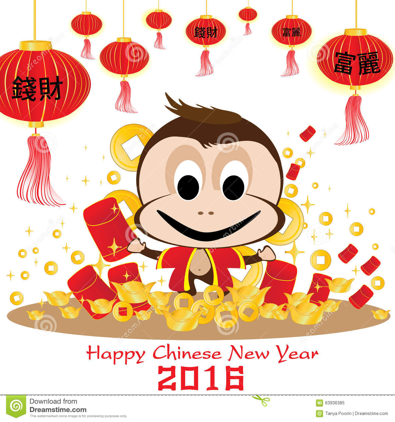 Happy Chinese New Year 2016 Card And Monkey On White Background