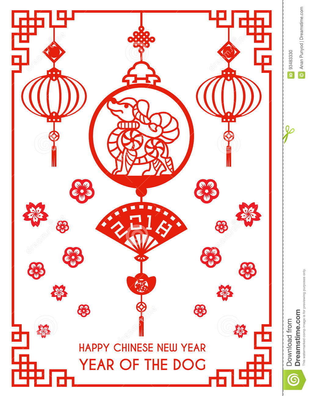 Happy Chinese New Year 2018 Card Is Red Paper Cut Dog Zodiac In ...
