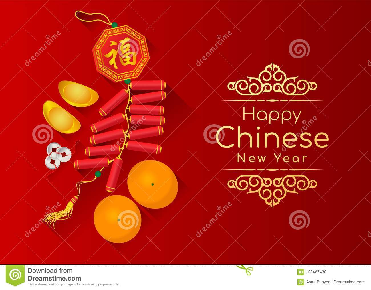 Happy chinese new year card with the sacred is gold money orange happy chinese new year card with the sacred is gold money orange fruit and firecracker chinese word mean blessing on red backg kristyandbryce Choice Image
