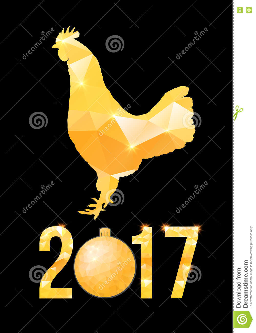 happy 2017 chinese new year card vector poster of a golden rooster isolated on black