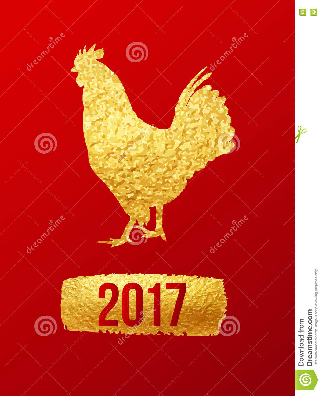 happy 2017 chinese new year card vector poster of a golden rooster isolated on red background design template for prints covers royalty free stock image