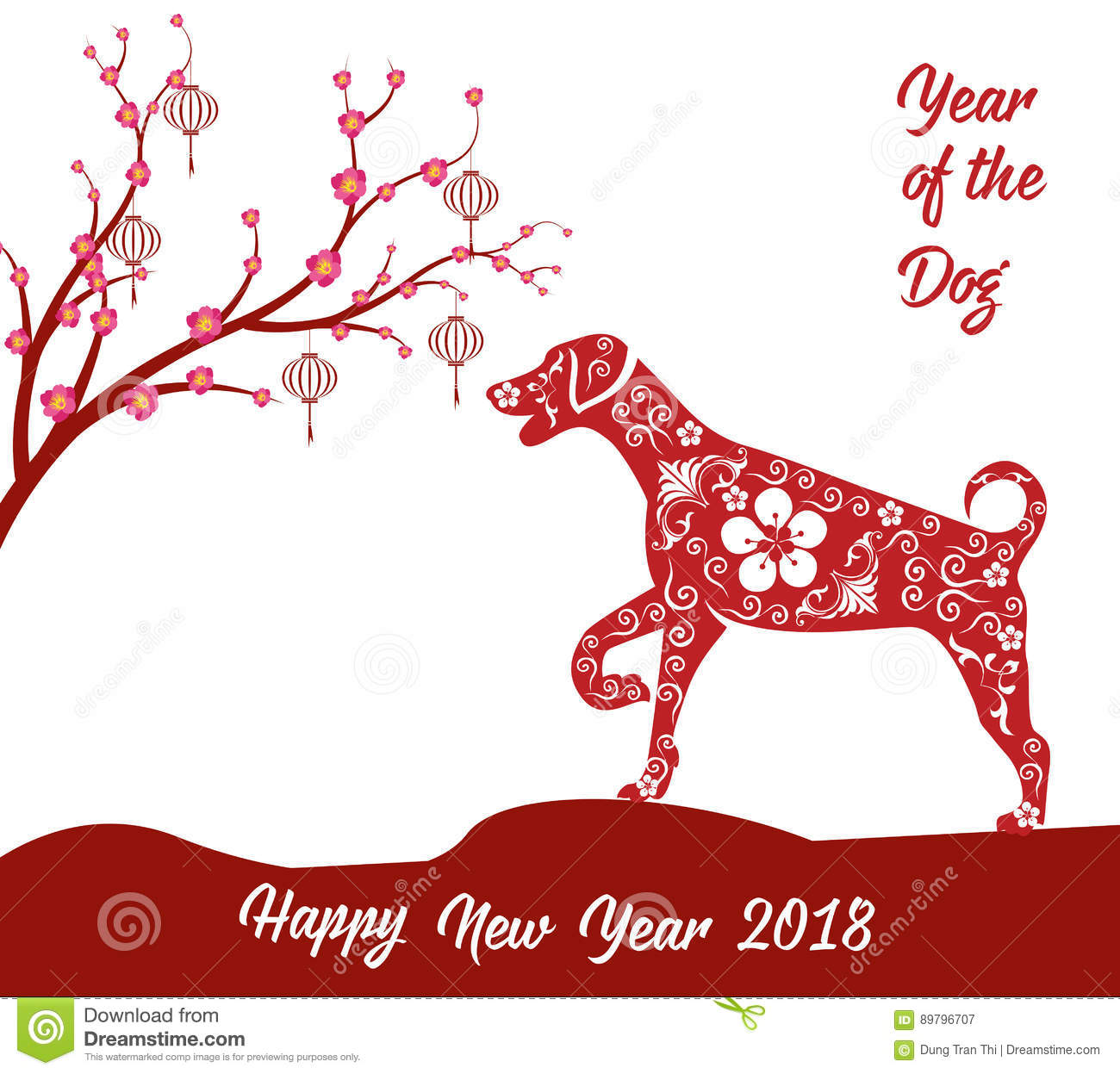 happy chinese new year 2018 card year of dog stock vector illustration of banner chinese. Black Bedroom Furniture Sets. Home Design Ideas