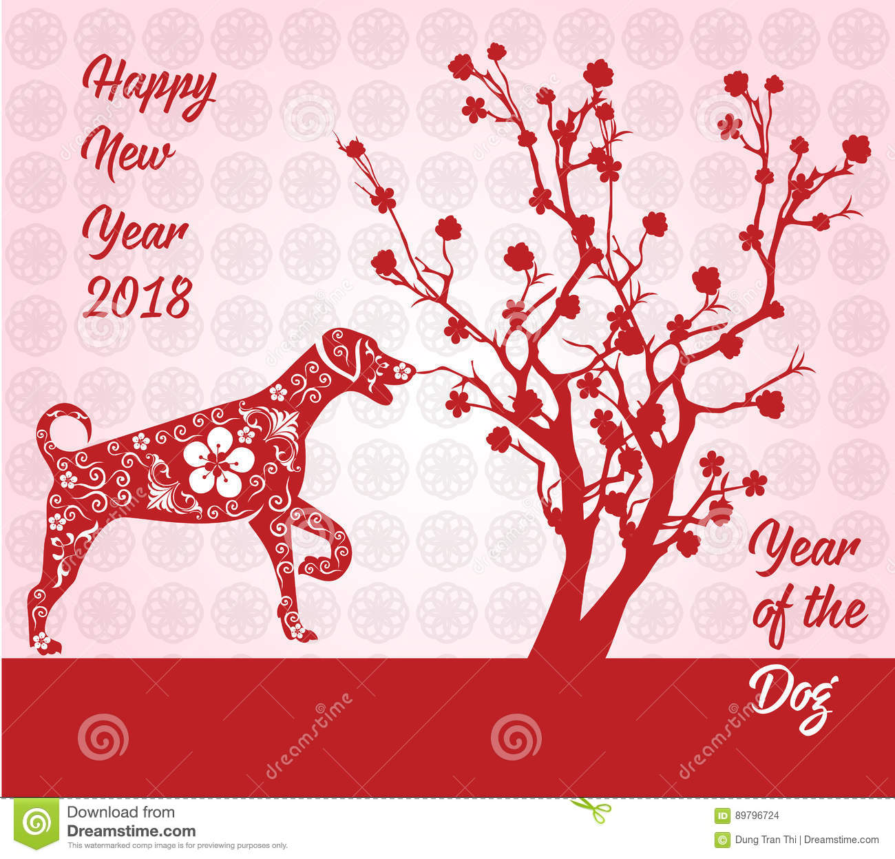 Happy Chinese New Year 2018 Card Year Of Dog. Stock Vector ...
