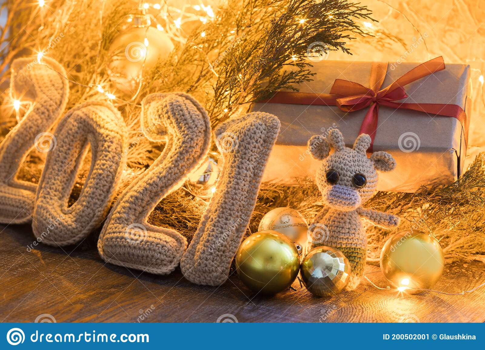 Happy Chinese New Year 2021 Composition Numbers 2021 Gift Box Toy Bull Stock Image Image Of Chinese Decoration 200502001
