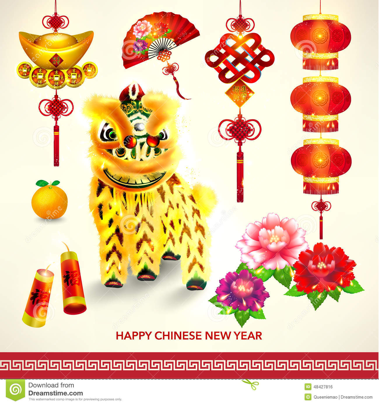 Happy Chinese New Year Decoration Set Stock Vector ...