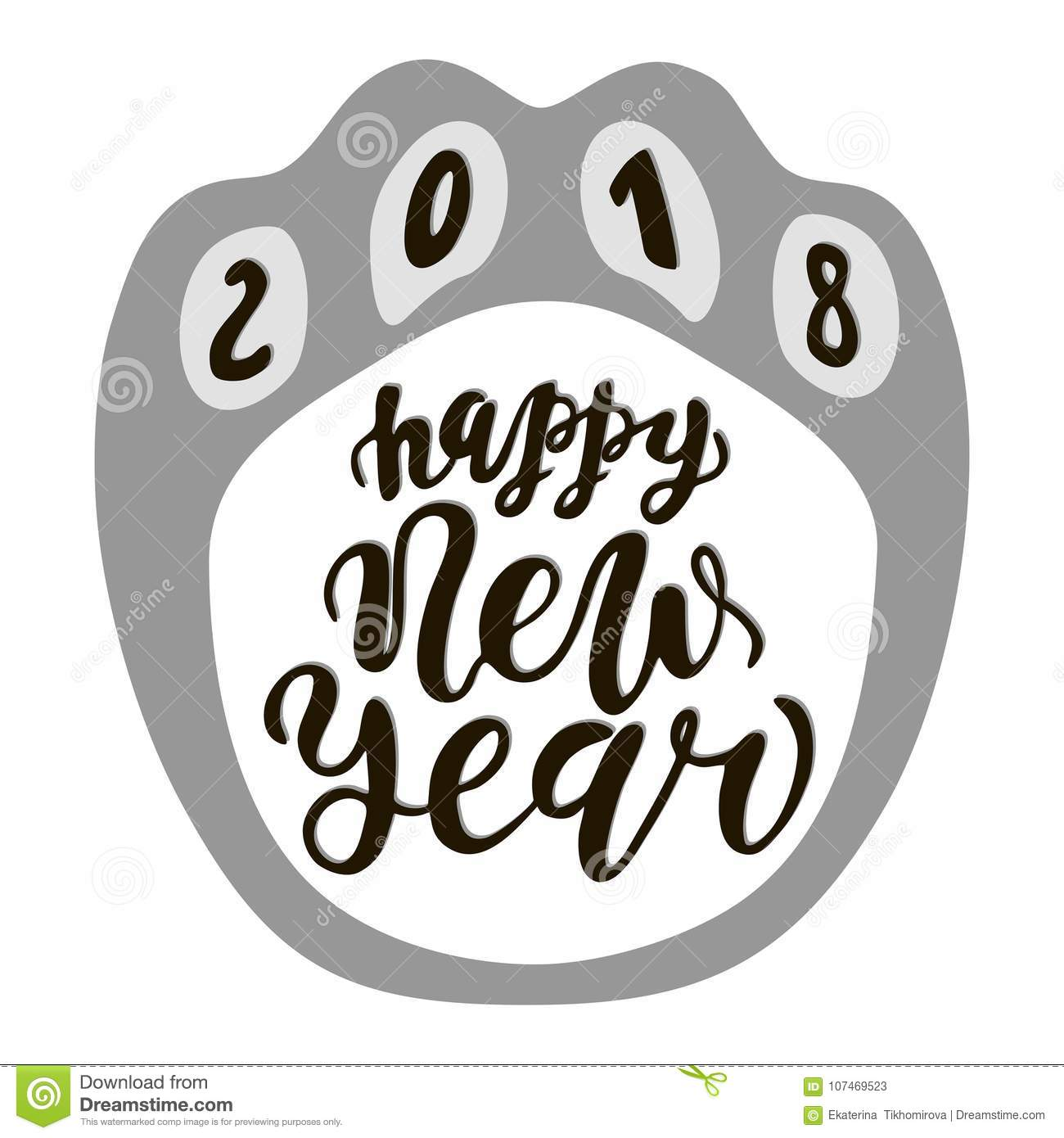 Happy Chinese New Year 2018 Dog, Text Hand Drawn Lettering. Holiday ...